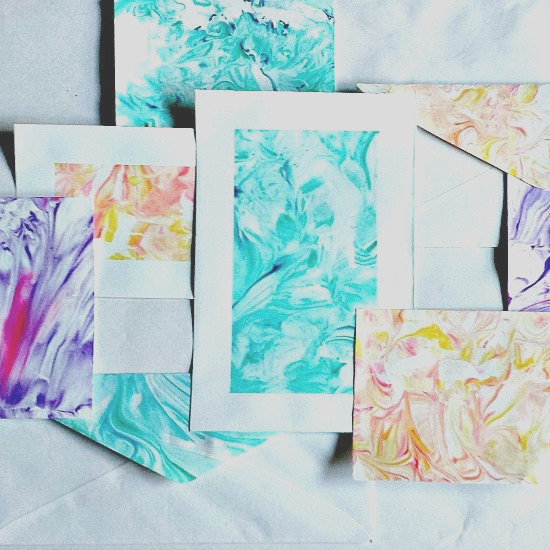 paper marbling using shaving cream and food coloring