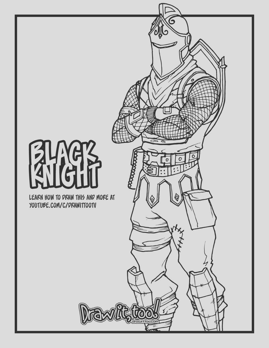 how to draw the black knight fortnite battle royale drawing tutorial