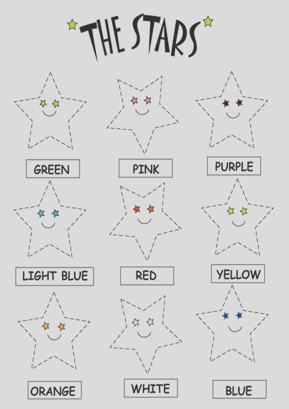 color the stars worksheets