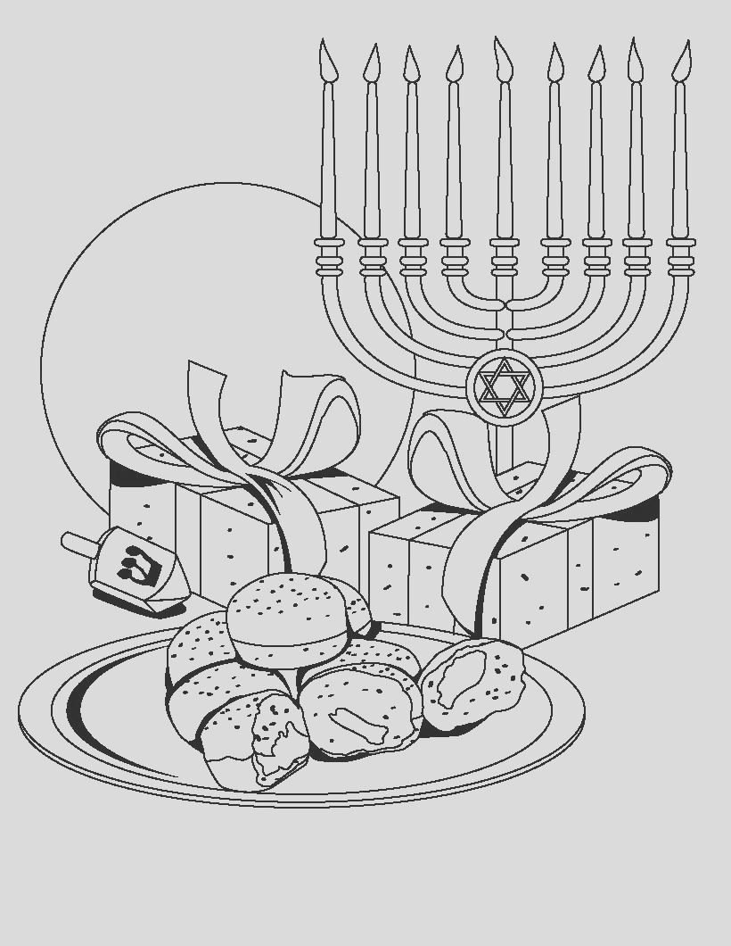hanukkah coloring pages menorahs