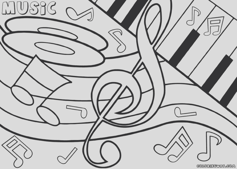 easy printable music coloring pages for children