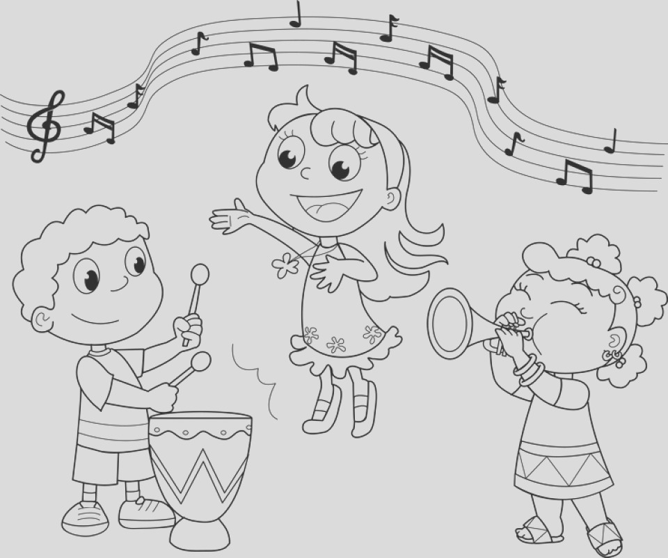 simple music coloring pages to print for preschoolers