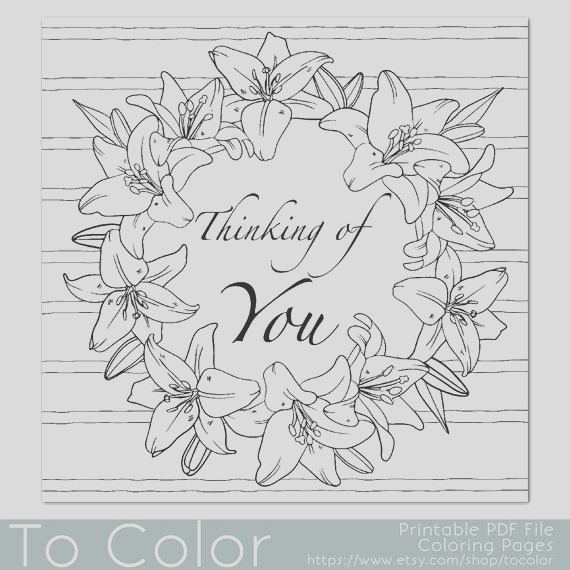 lilies frame thinking of you coloring