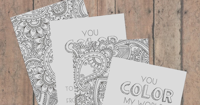 adult coloring valentines day cards