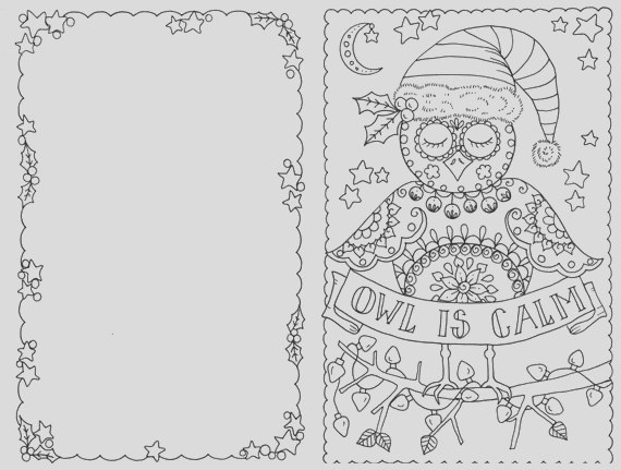 4 cards to color owl christmas cards you