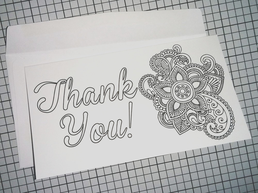 printable coloring thank you card adult