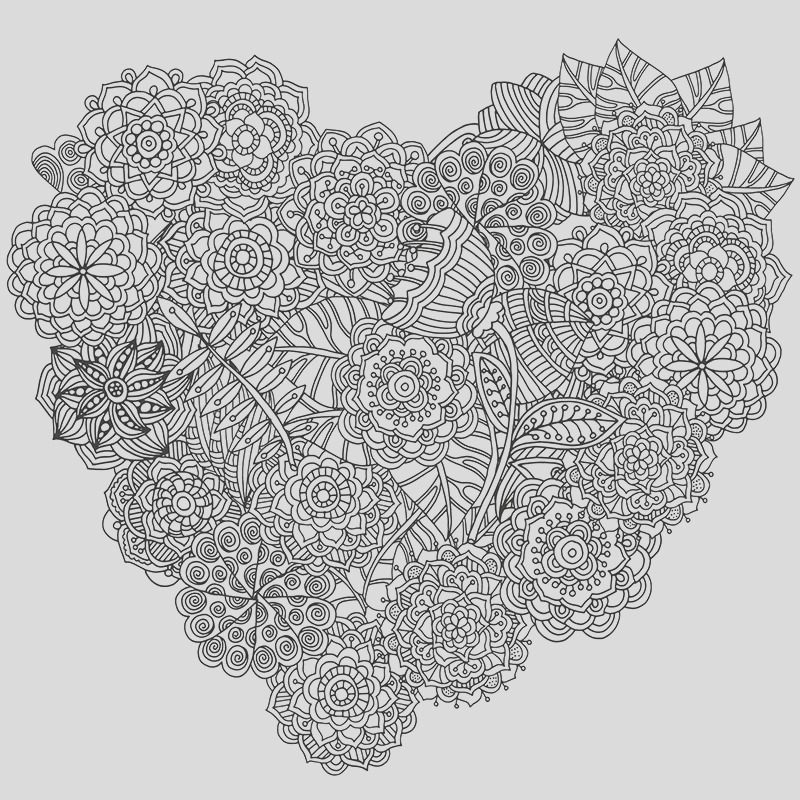 free able heart coloring design for stress relief