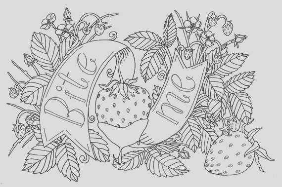bite me strawberry adult coloring page