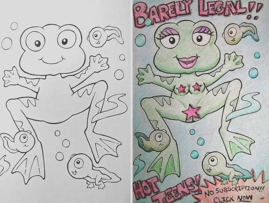 look what happens when dark humored adults ahold of a childrens coloring book
