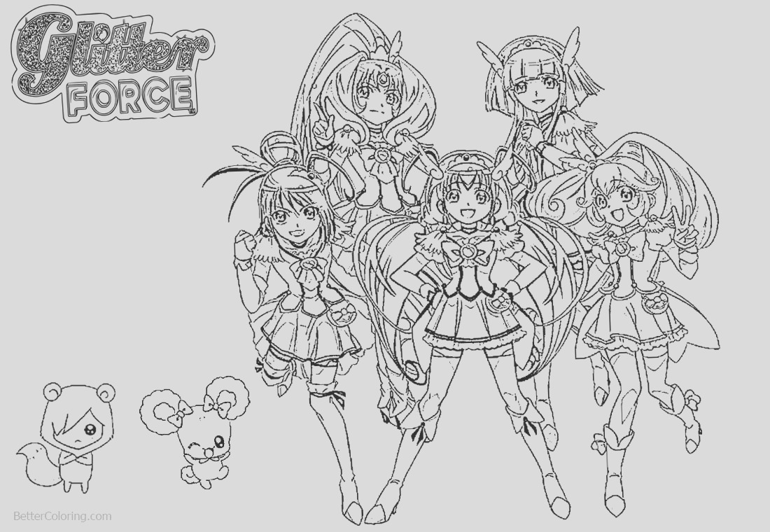glitter force characters coloring pages precure
