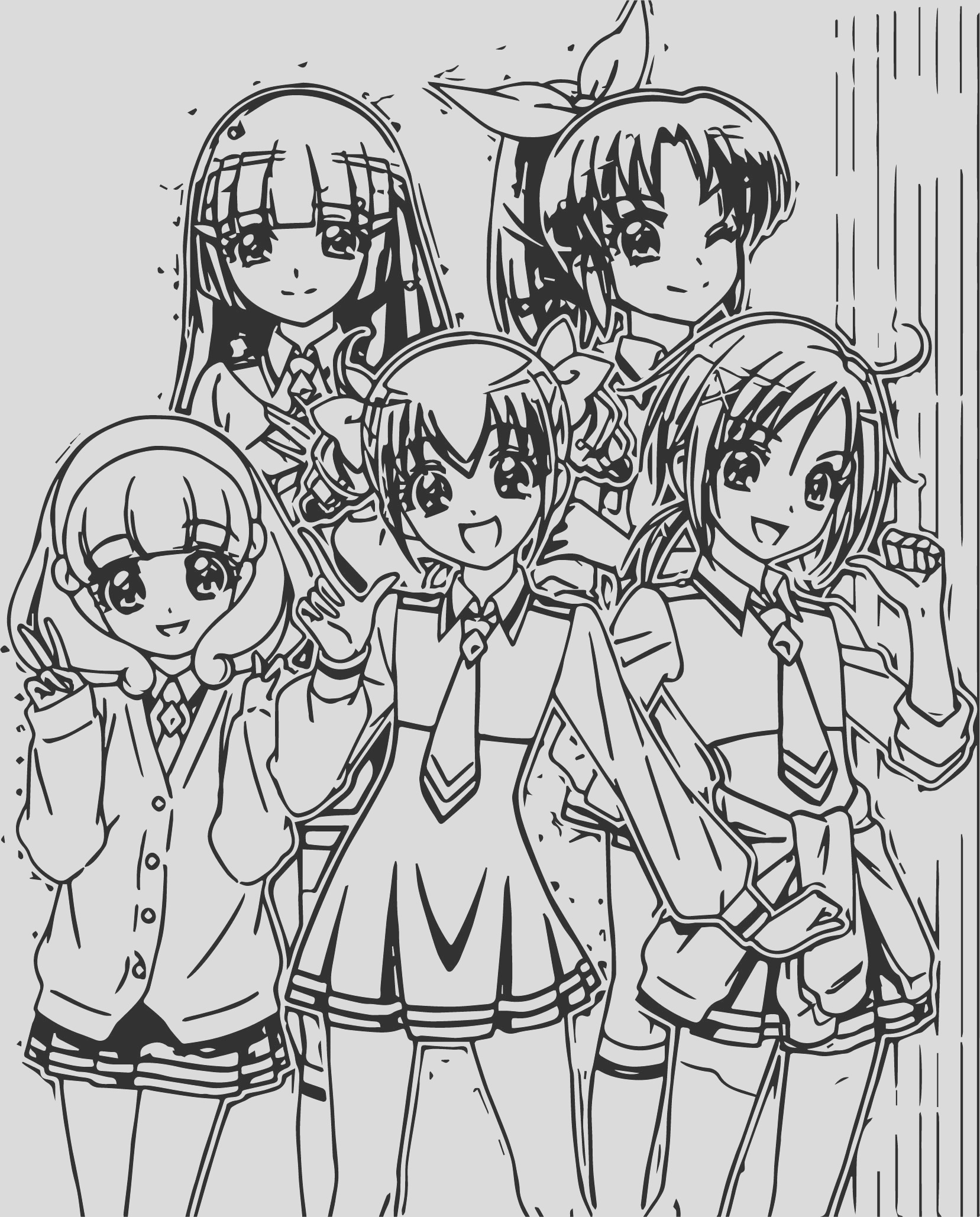 glitter force girls team coloring page