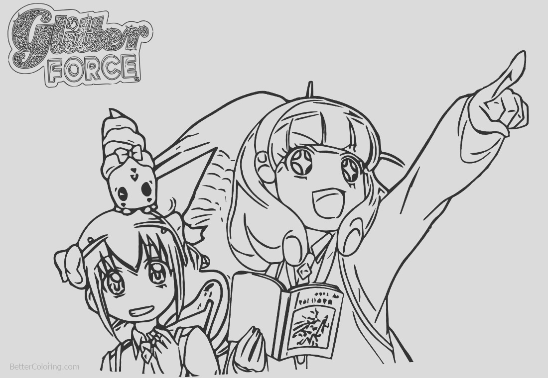 glitter force coloring pages precure two girls