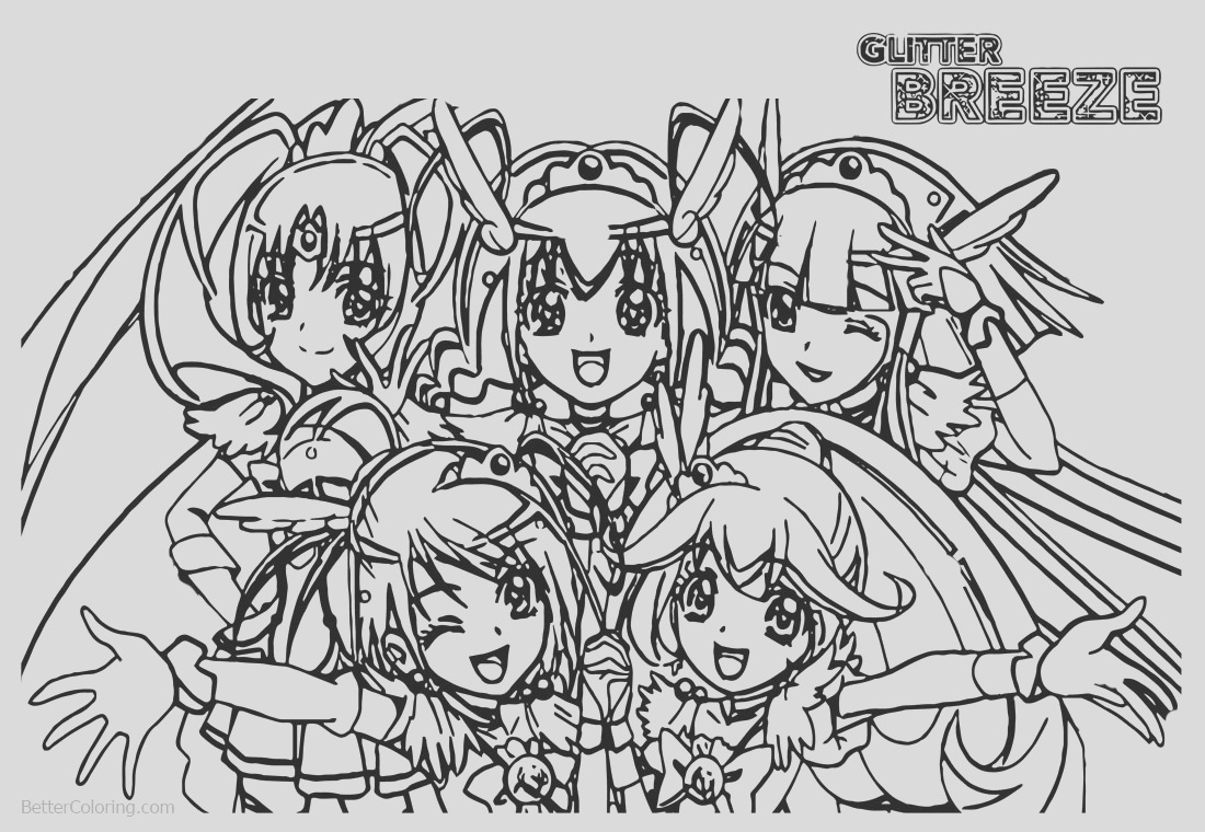 glitter force coloring pages five precure girls