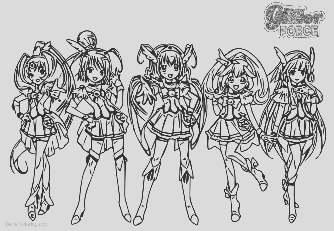 glitter force coloring pages five girls
