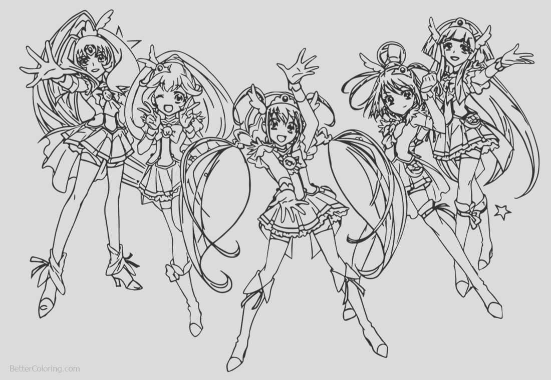 glitter force characters coloring pages