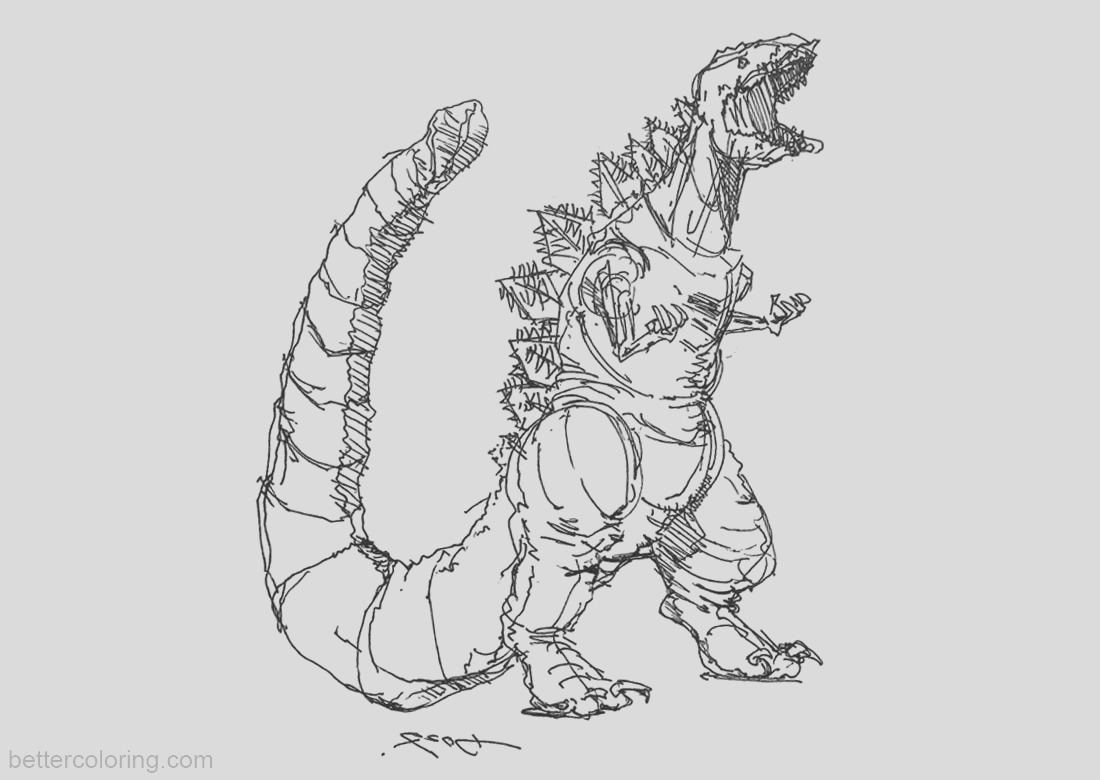 godzilla coloring pages sketch by kwmt