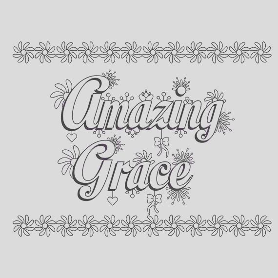 words amazing grace adult coloring page
