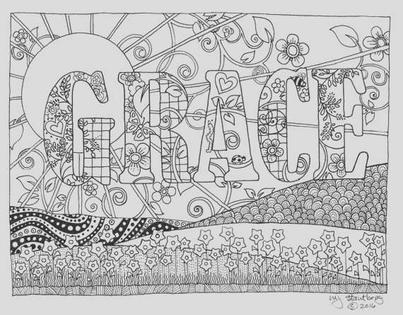 coloring page hand drawn grace