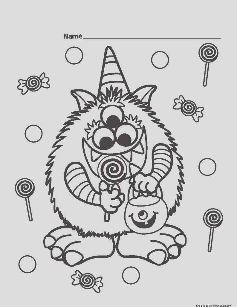 print halloween candy critter coloring page