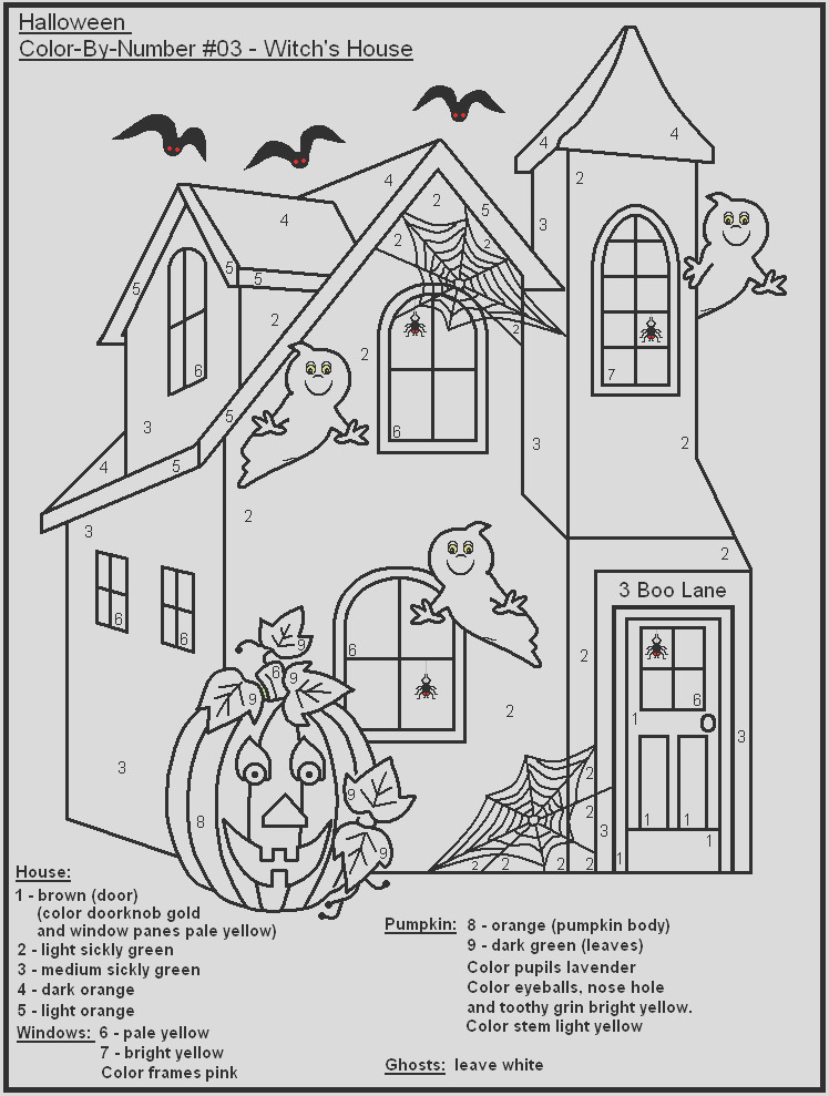 19 eerie halloween color by number printable pages for free
