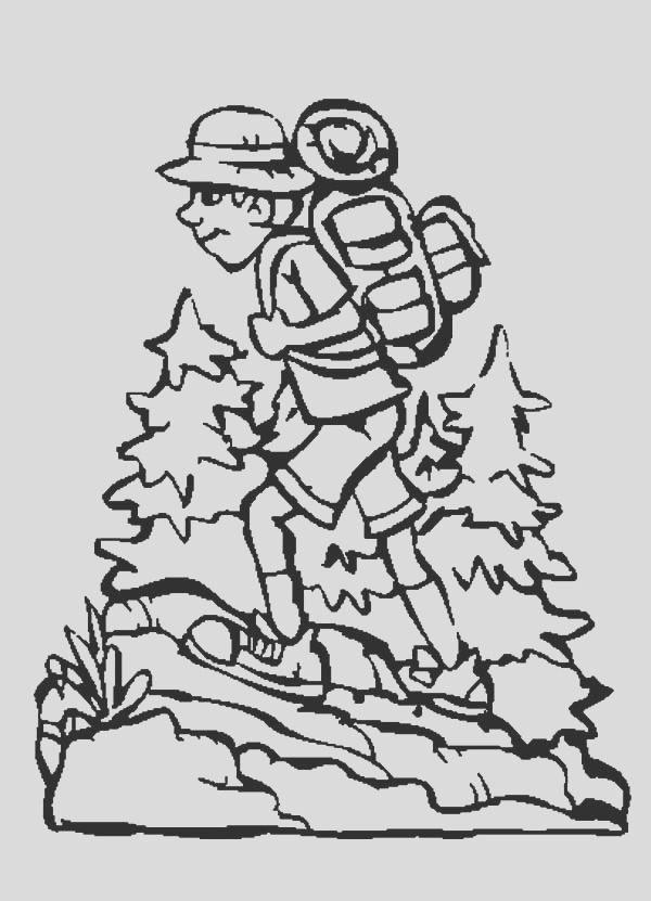 boy hiking with camping backpack coloring pages