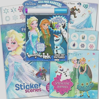 disney frozen imagine ink coloring activity book deluxe set including 2 frozen sticker books with over 80 stickers