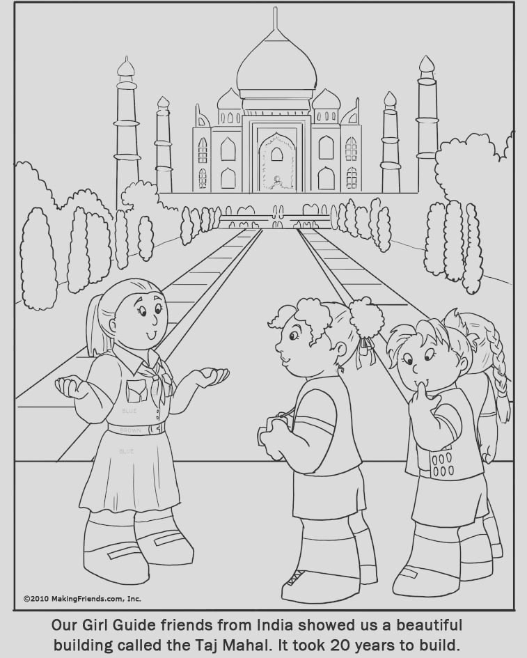 coloring page india girl guide