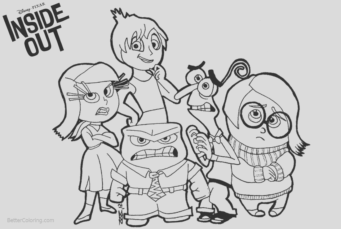 disney inside out coloring pages characters