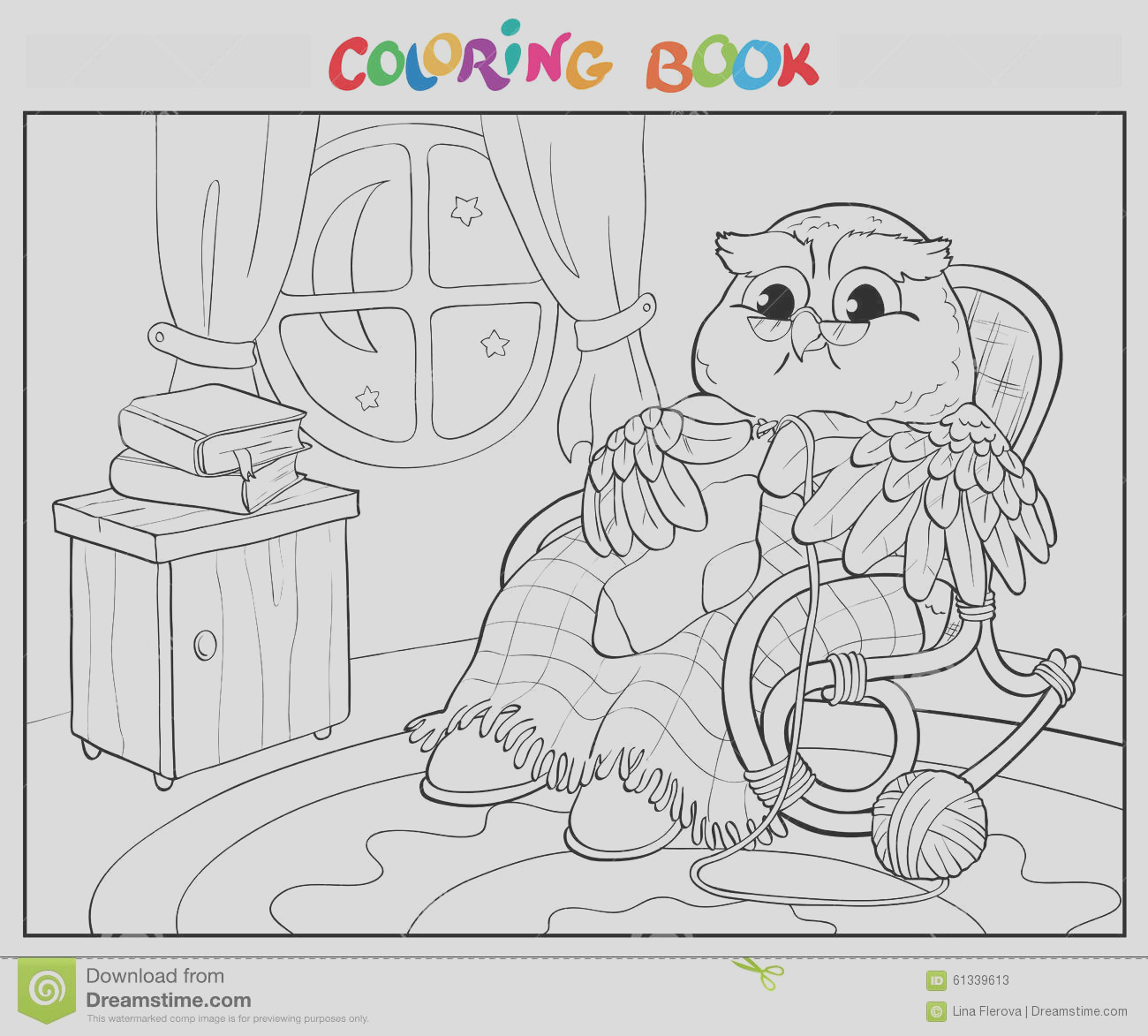 stock illustration coloring book old owl chair knitting sock page image