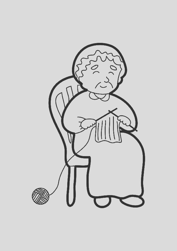 grandmother knitting coloring pages