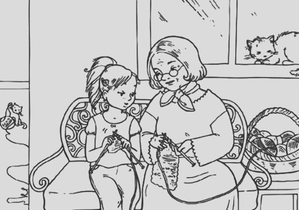 me knitting with grandmother coloring pages