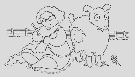 coloring page tuesday knitting with wool