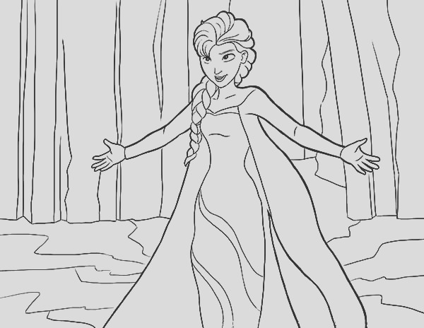 queen elsa and north mountain coloring pages