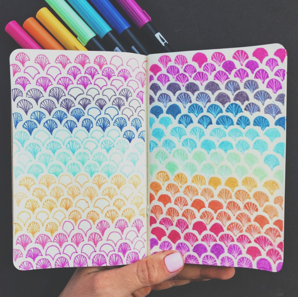 how to make a watercolor mandala background using tombow brush pens