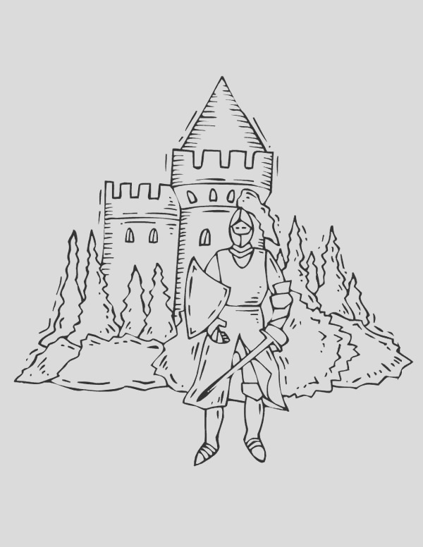knight in front of me val castle coloring page