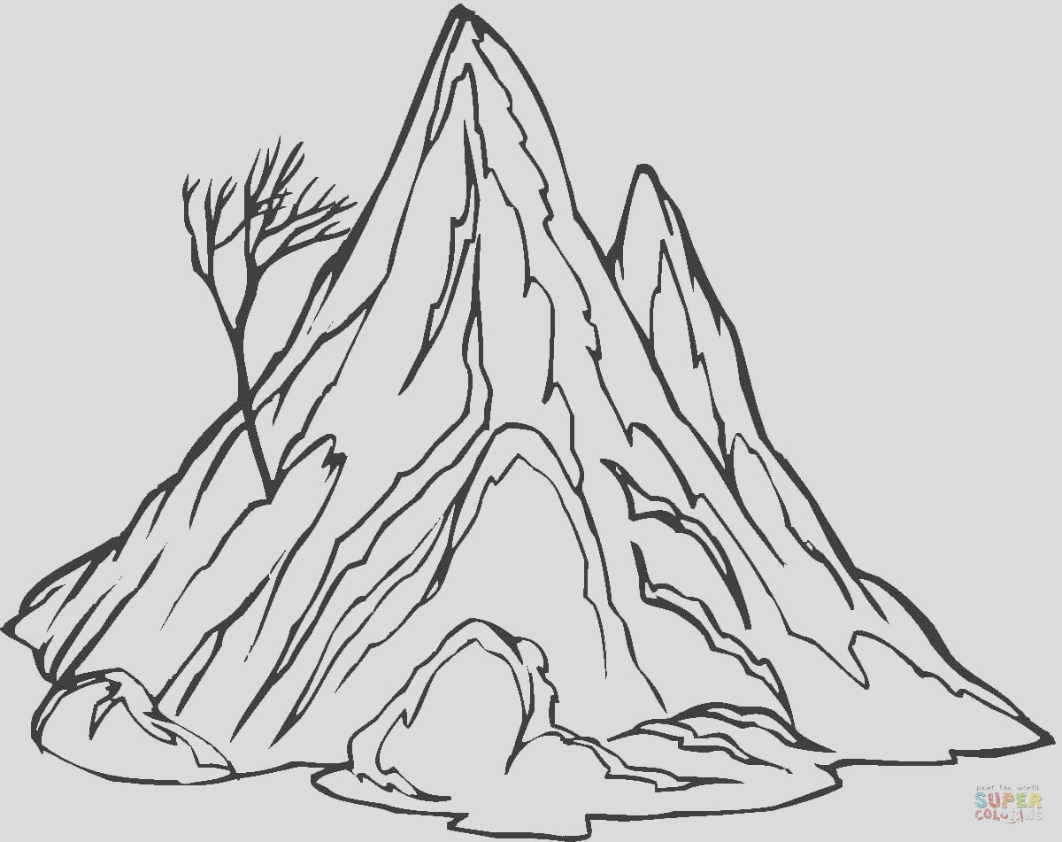 mountain picture black and white coloring page