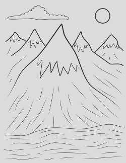 mountains coloring page