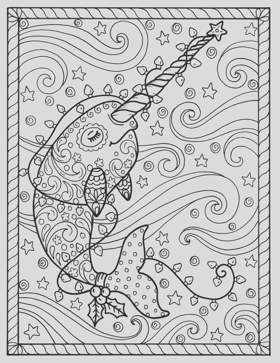 narwhal christmas coloring pages adult