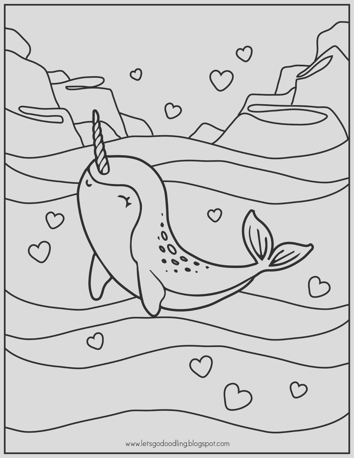 free printable coloring page narwhal