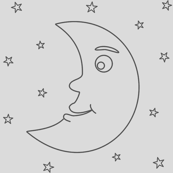 awesome night with moon and stars coloring page