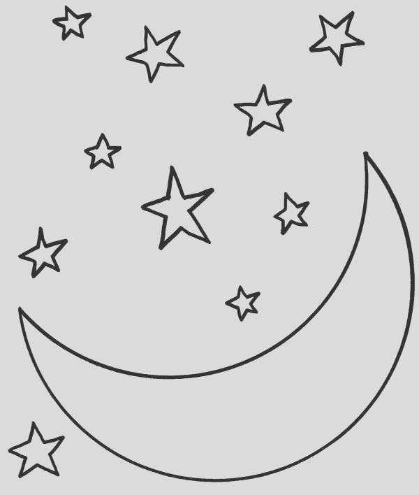moon at starry night coloring page