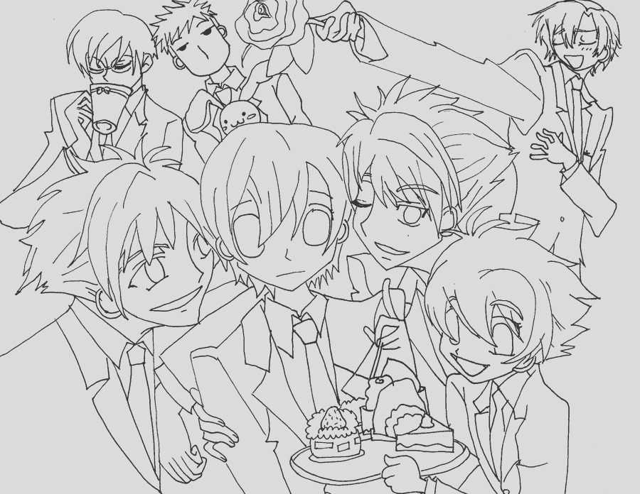 ouran host club coloring pages sketch templates