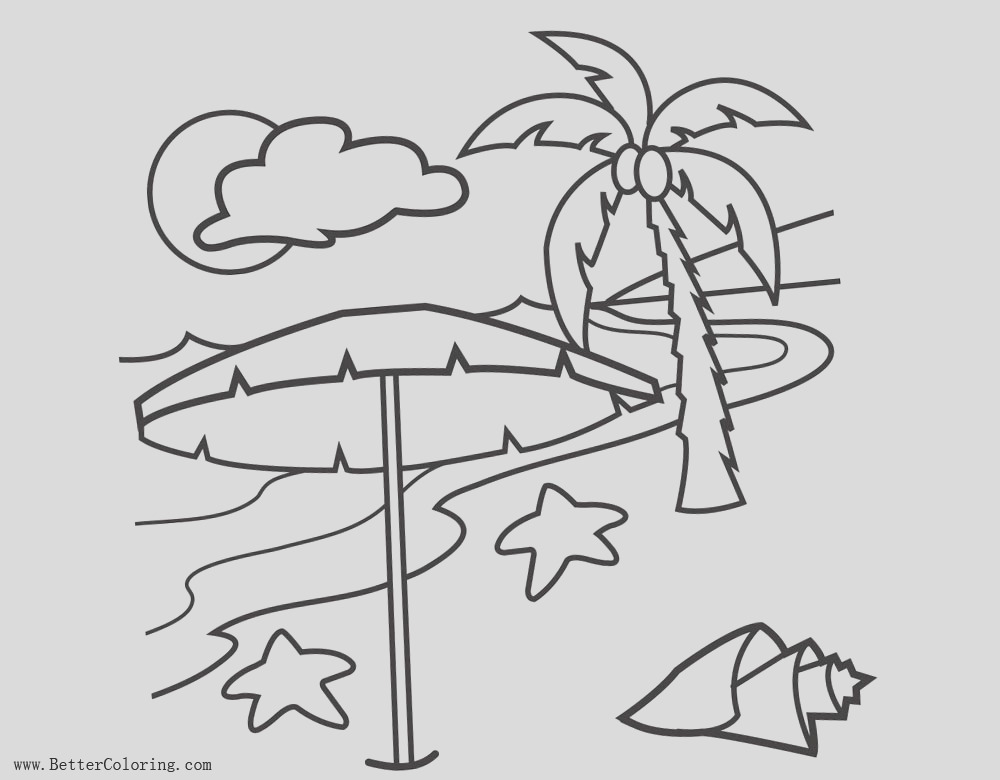 palm tree coloring pages with clouds and seashell
