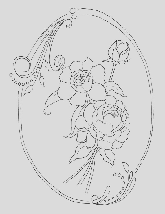 peony coloring page instant