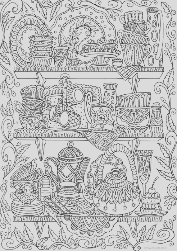 cups printable adult coloring page from