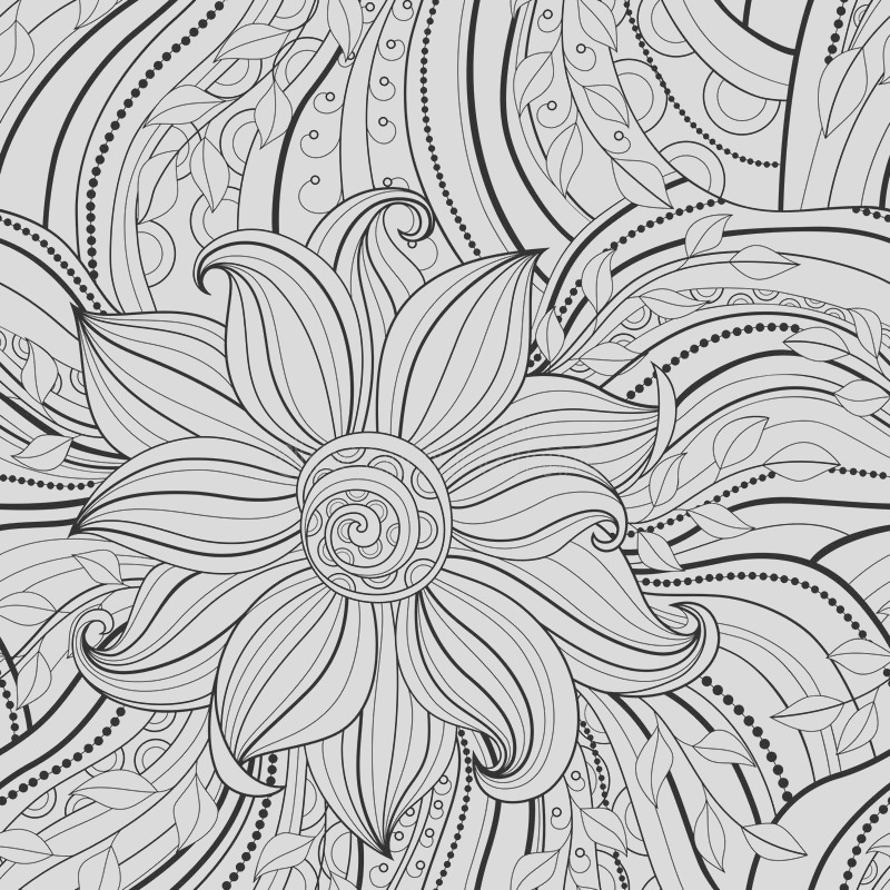 stock illustration seamless monochrome floral pattern hand drawn texture decorative flowers coloring book image