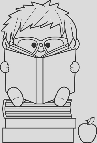 little boy reading books black and white coloring book page gm