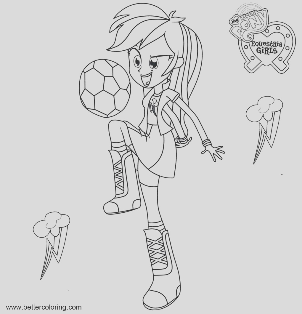 my little pony equestria girls coloring pages rainbow dash with football