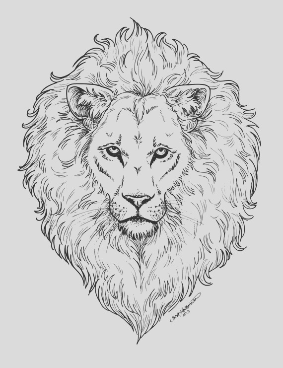 mighty lion coloring page digital file