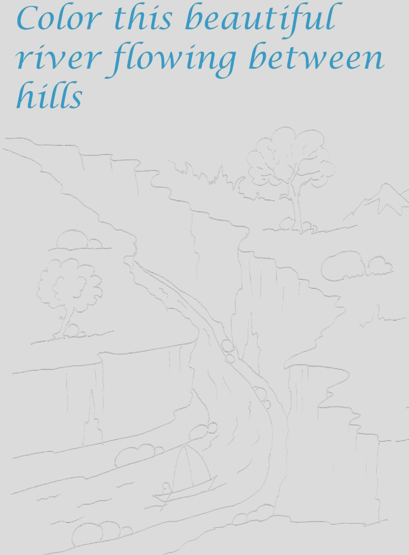 5277 River in the hills coloring printable page for kids